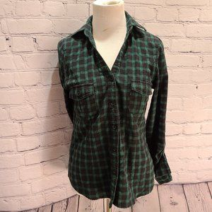 Love Tree Green Black Plaid Flannel with elastic